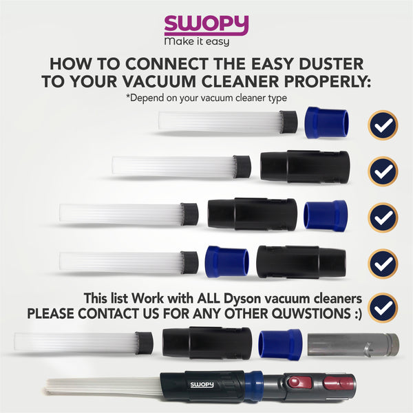 Easy Duster Plus - Universal Vacuum Attachment Tool Tiny Tubes With Dyson V6/V7/V8/V10/adaptor