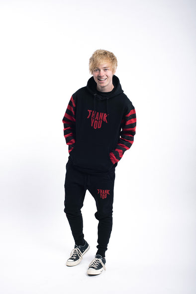 Sam Golbach: Thank You Black and Red Striped Hoodie