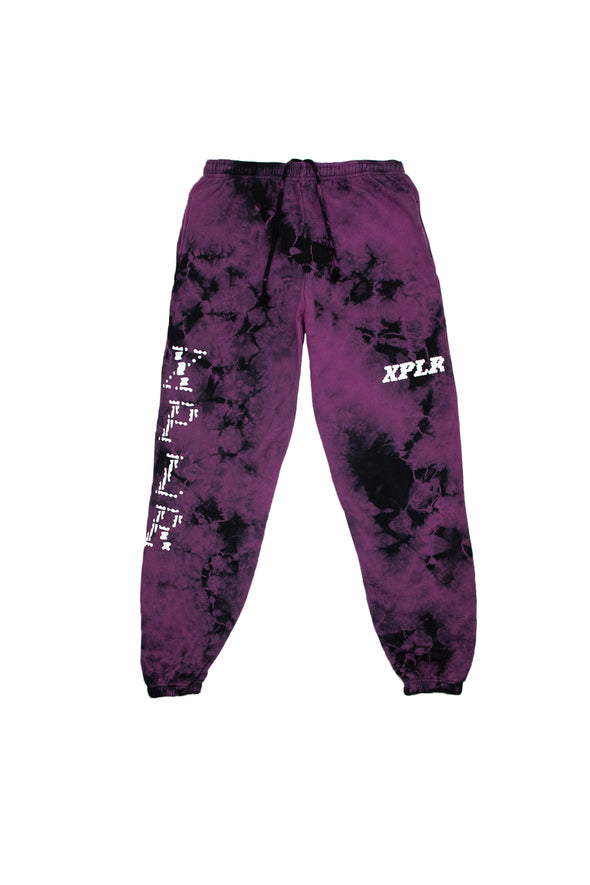 X P L R: Purple Tie-Dye Shatter Sweatpants