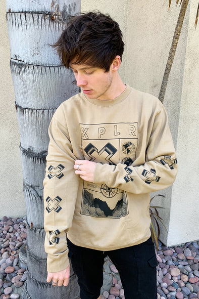 X P L R: No Limits V2 Tan Crewneck