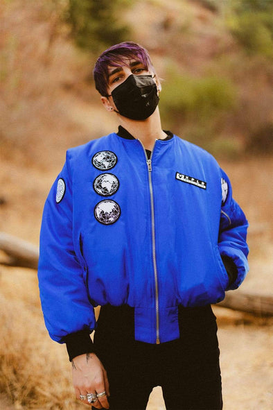 X P L R Uncharted Territories Royal Blue Bomber Jacket