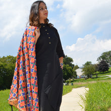 Solid Cotton Kurta with Platted Shoulders
