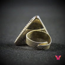 Beautiful triangle shaped, stone led Free size (adjustable) German Silver Party Ring