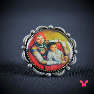 Colorful and unique mother kid vintage (Adjustable) German Silver ring