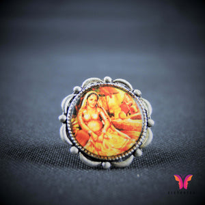 Colorful and unique indian girl vintage (Adjustable) German Silver ring