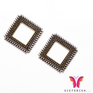 Beautiful square german silver earrings - So perfectly carved!