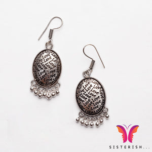 Love embossed german silver jhumka earring