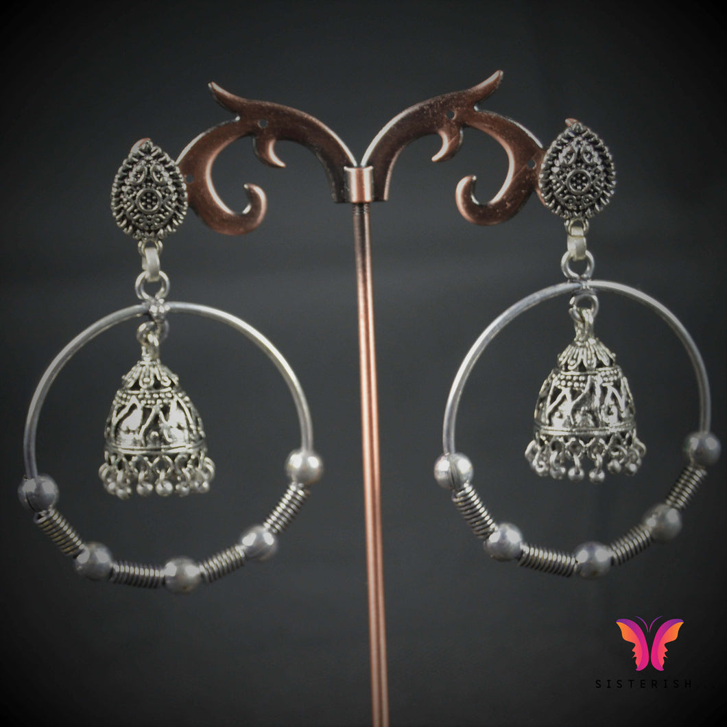 Beautiful lightweight hoop earrings with Jhumka