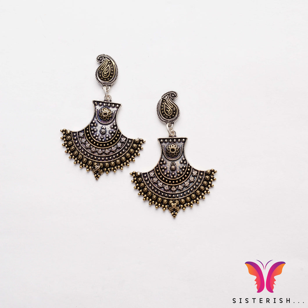 Gold Silver Chand Bali Inspired earrings | Sisterish Indian Clothing and Jewelry