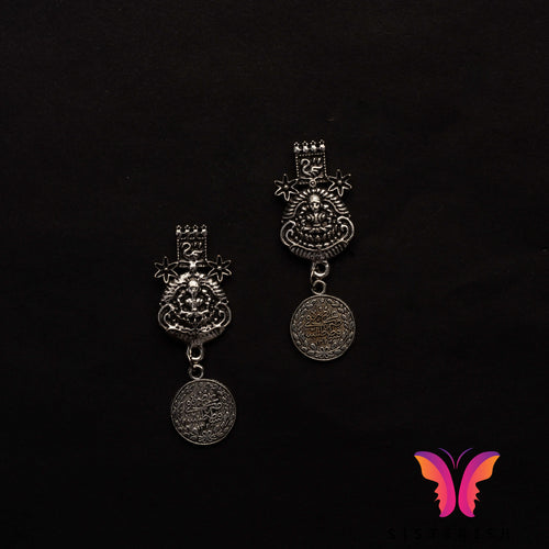 Historic style German Silver earrings | Sisterish Indian Clothing and Jewelry