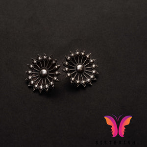 Beautiful round German Silver stud earrings | Sisterish Indian Clothing and Jewelry
