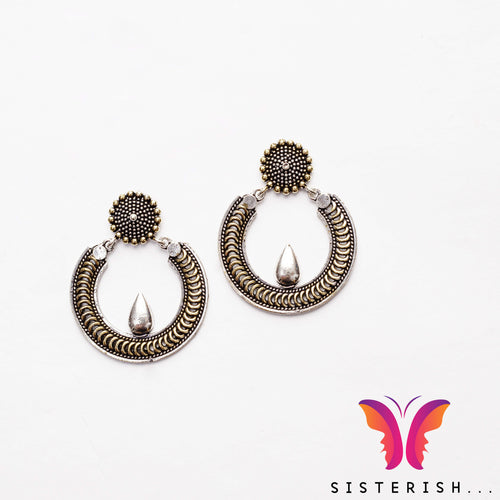 Gold Silver Chand Bali Jhumka earrings | Sisterish Indian Clothing and Jewelry