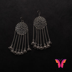 Unique long and lightweight German Silver Jhumka earrings