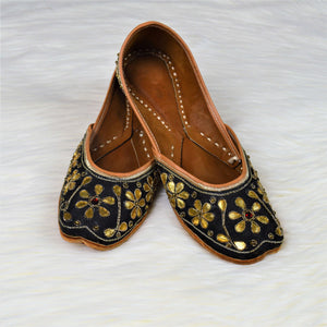 Kumera - Black Jutti with Gold floral embellish