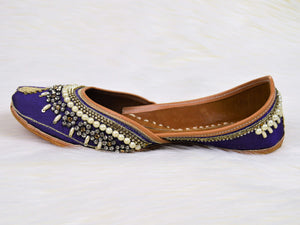 Naaz - Purple Jutti with Gold and Pearl Embellish