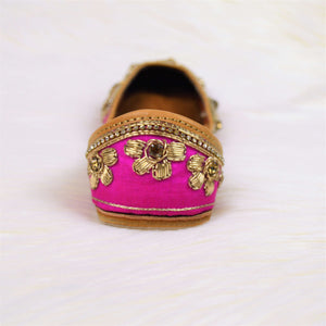 Rozana - Pink Jutti with golden floral embellish