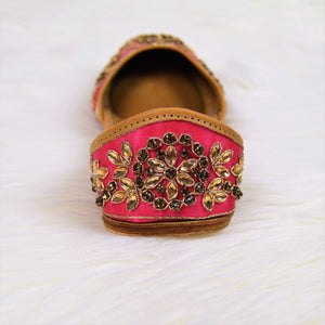 Wild Watermelon - Pink Jutti with golden embellish pattern