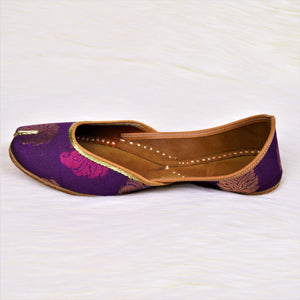 Grappy - Purple Jutti with Golden and Pink Hand Block Print Jutti