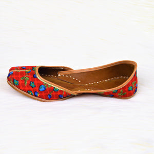 Bloody Flora - Red Color Jutti with floral pattern