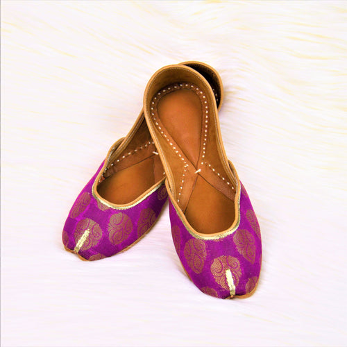 Violet Eggplant - Violet with Golden print Jutti