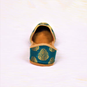 Noor - Green with Golden print Jutti