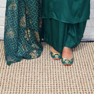 Green Cotton Plazo Set with Printed Green and Golden color Dupatta