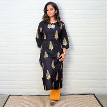 Black Kurta with Handblock printed yellow plazo set