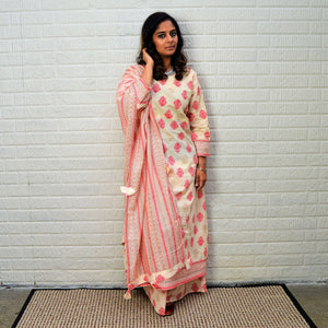 Pearl White Cotton Plazo Set with Printed Plazo and Dupatta - Pink Pattern