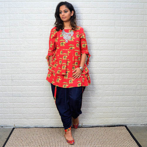 Hand block Elephant Printed Red Rayon Kurta with Blue Dhoti