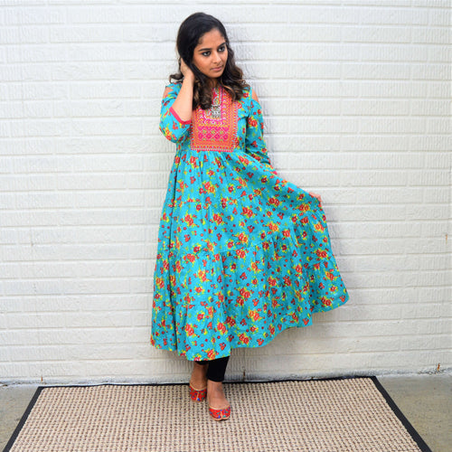 Piction Blue Floral Printed Rayon Cotton Kurta with cold shoulders