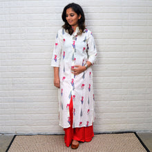 White Floral Printed Cotton Kurta with shades of Red