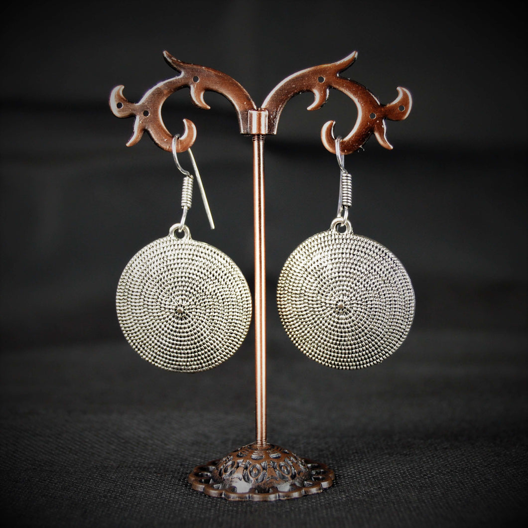 Fine Quality German Silver Round Earrings with symmetric silver beads pattern
