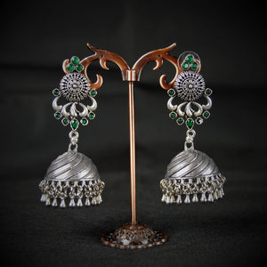 German Silver Jumka with Emerald stones Earrings