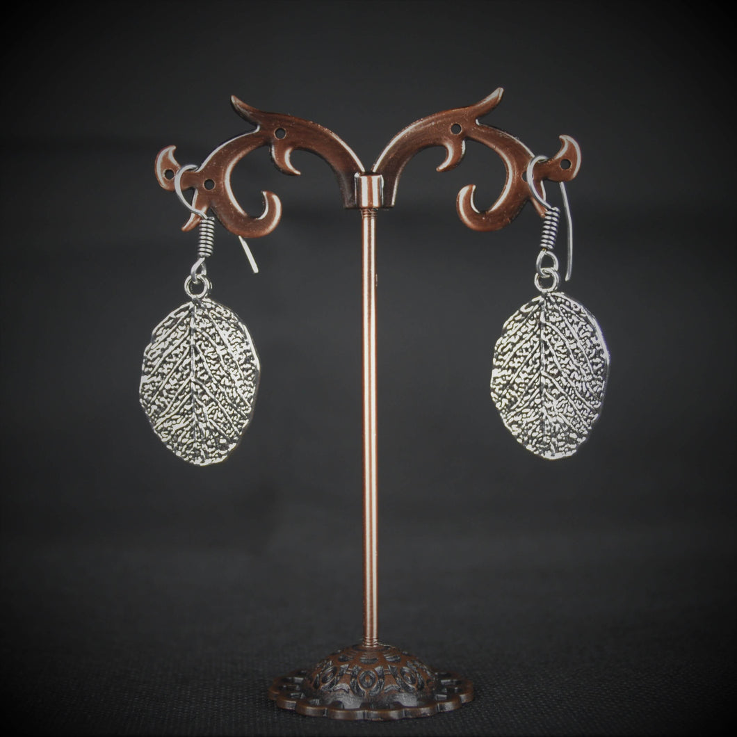 Hand crafted lightweight German Silver shimmery leaf Earrings