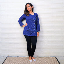 Blue Ikkat Top -  Short Kurta with Cross Button Pattern