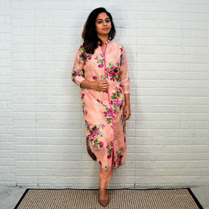 Printed Silk Suit with Classy Pants and printed Dupatta