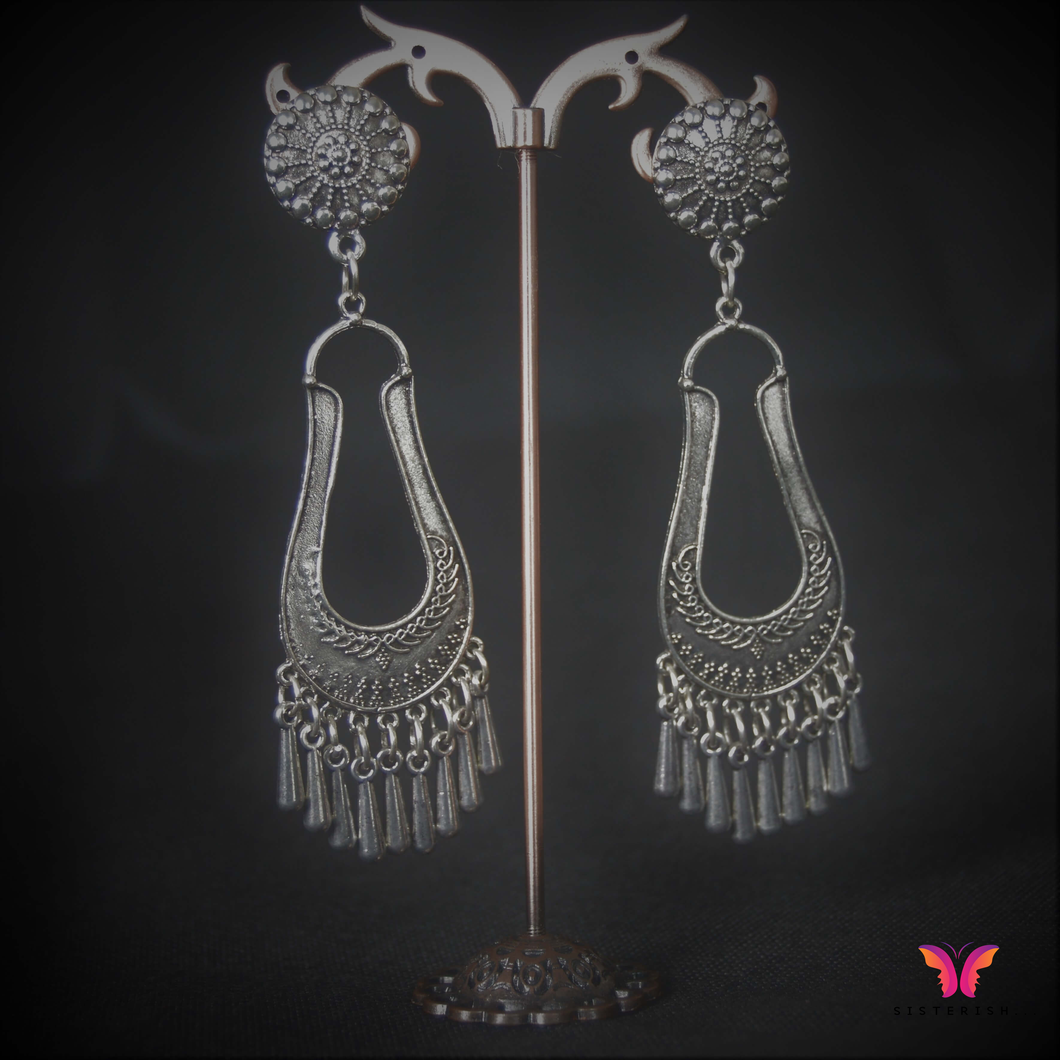 Beautiful Long German Silver Dangler Earrings, just like your Jhumkas