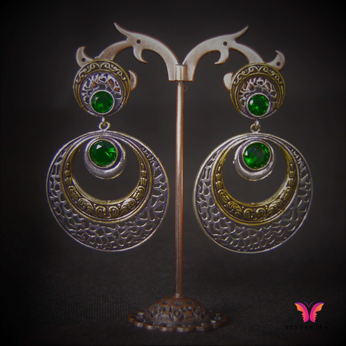 Afghani Chand German Silver Earrings in 2 tone and emerald stones