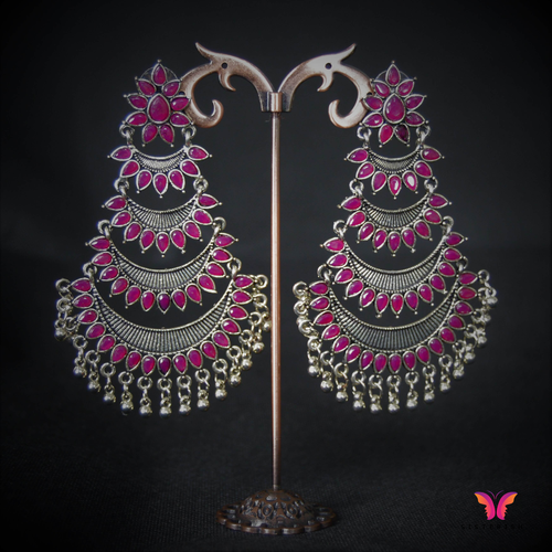 Beautiful (Pink) Kundan Stone Chandbali German Silver Earrings