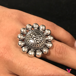 Lord Ganesha Engraved Adjustable German Silver Party Ring | Sisterish...