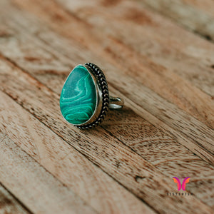 Vintage Art Deco German Silver ring with Malachite Stone