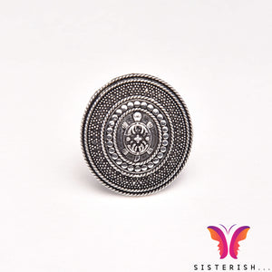 Designer German Silver Ring with tortoise embossed