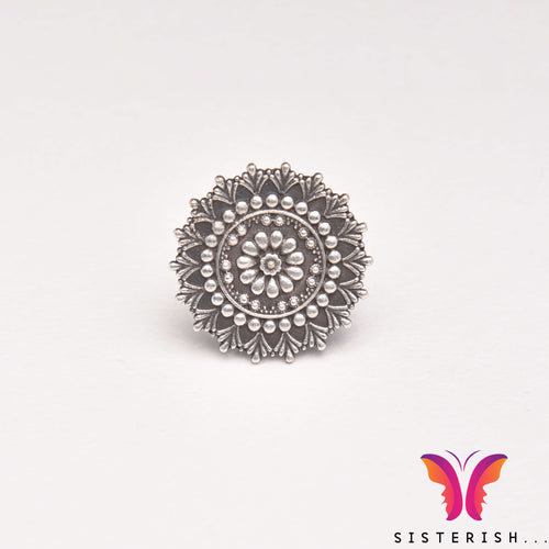 Beautiful beaded German Silver Adjustable ring