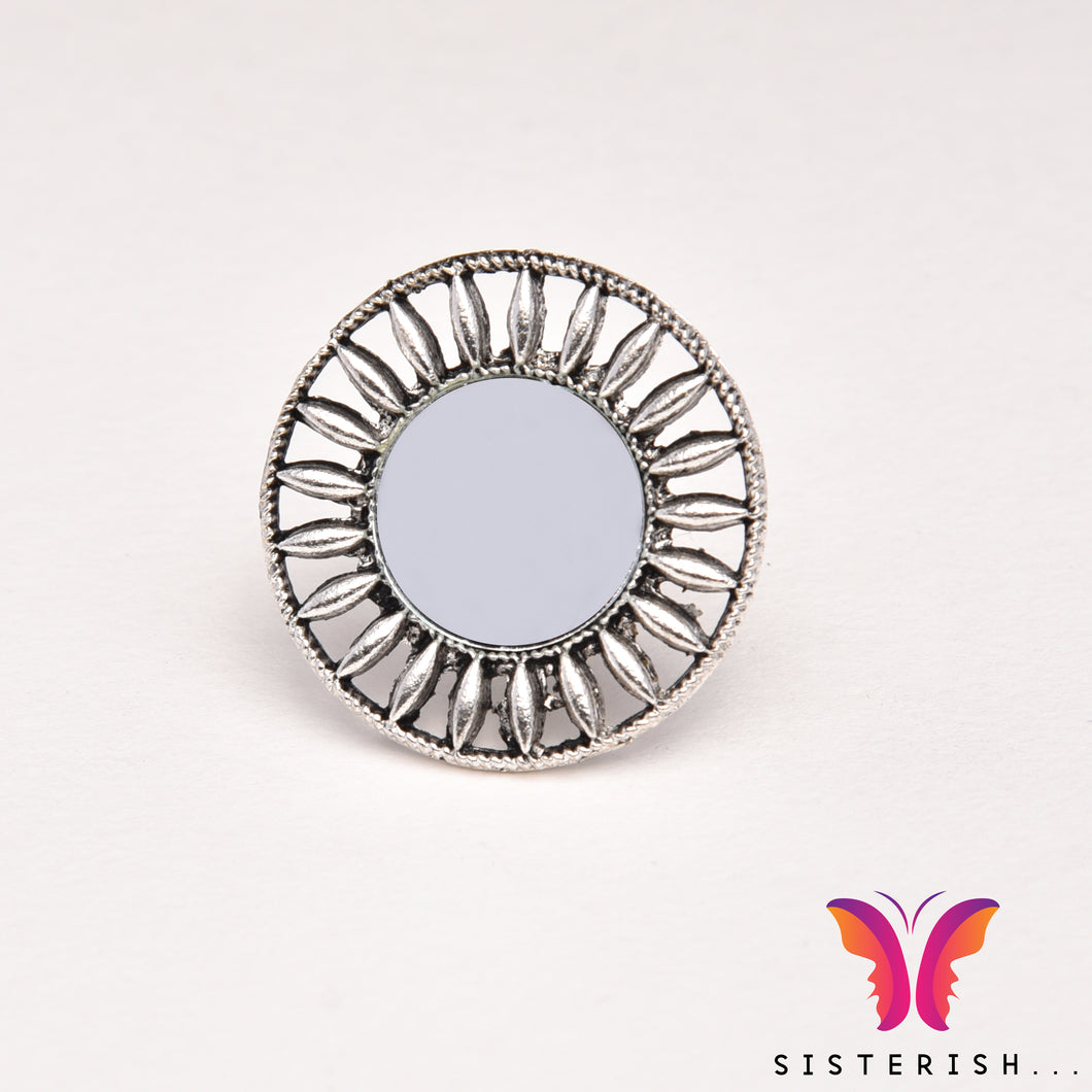 Beautiful designer German Silver Adjustable Party Ring with mirror