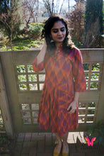 Red Handwoven Ikkat Dress with 60/60 thread count