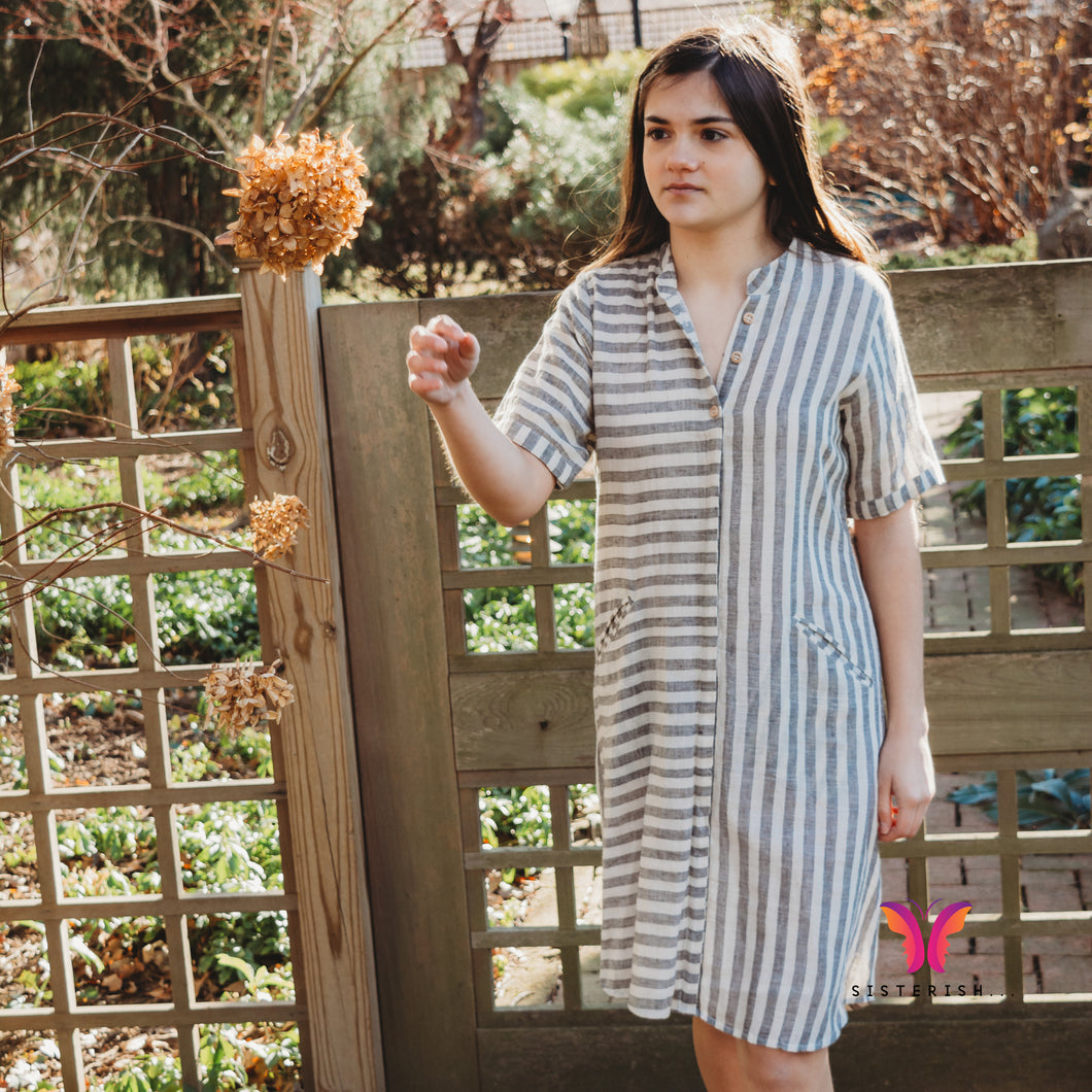 Grey White Striped Shirt Dress in Organic Cotton Hand-loomed fabric 1*1 fabric count