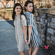White and Blue Stripes Organic Cotton Dress