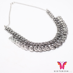 German Silver Choker made with Ganeshji on silver coins Necklace | Sisterish
