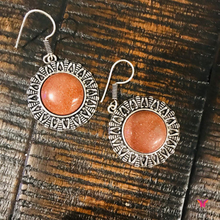 Big Gold Sandstone German Silver Earrings