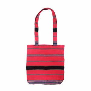 Handwoven Multicolor Tote - Hot Pink